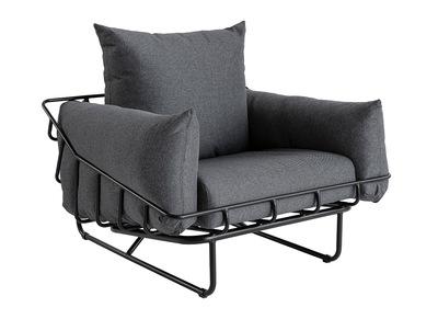 Poltrona design in tessuto grigio e metallo KORB