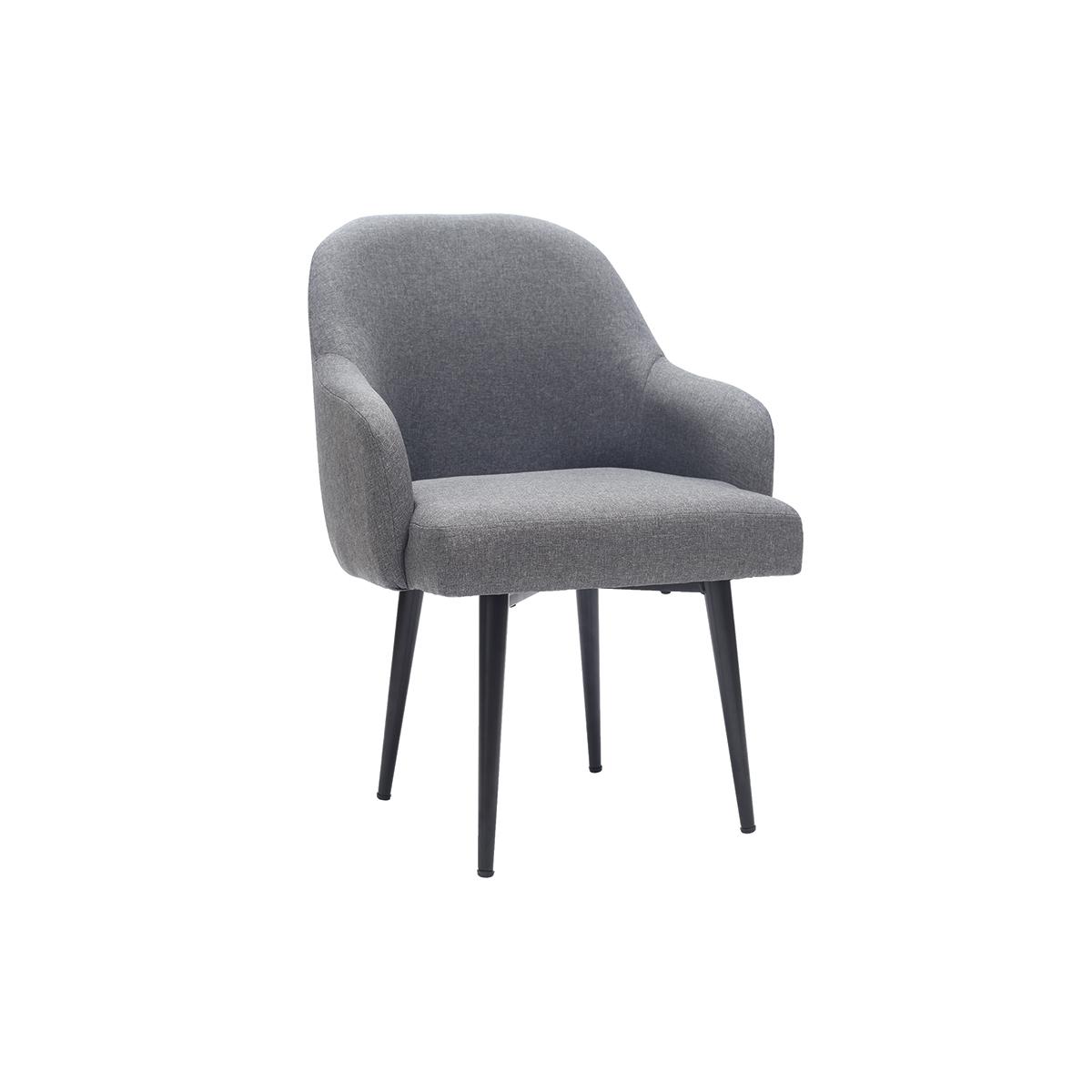 Poltrona design in tessuto grigio scuro e piedi in metallo nero AMON