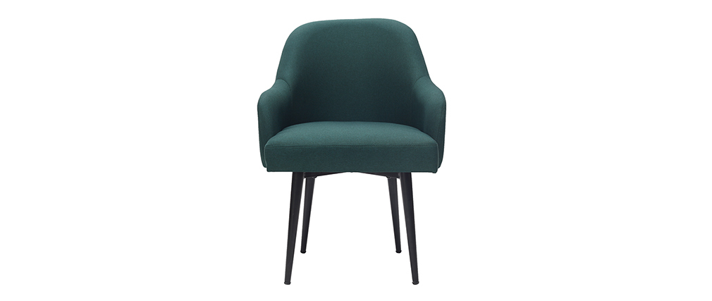 Poltrona design in tessuto verde scuro e piedi in metallo nero AMON