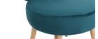 Poltrona design in velluto blu anatra e piedi legno TANAKA