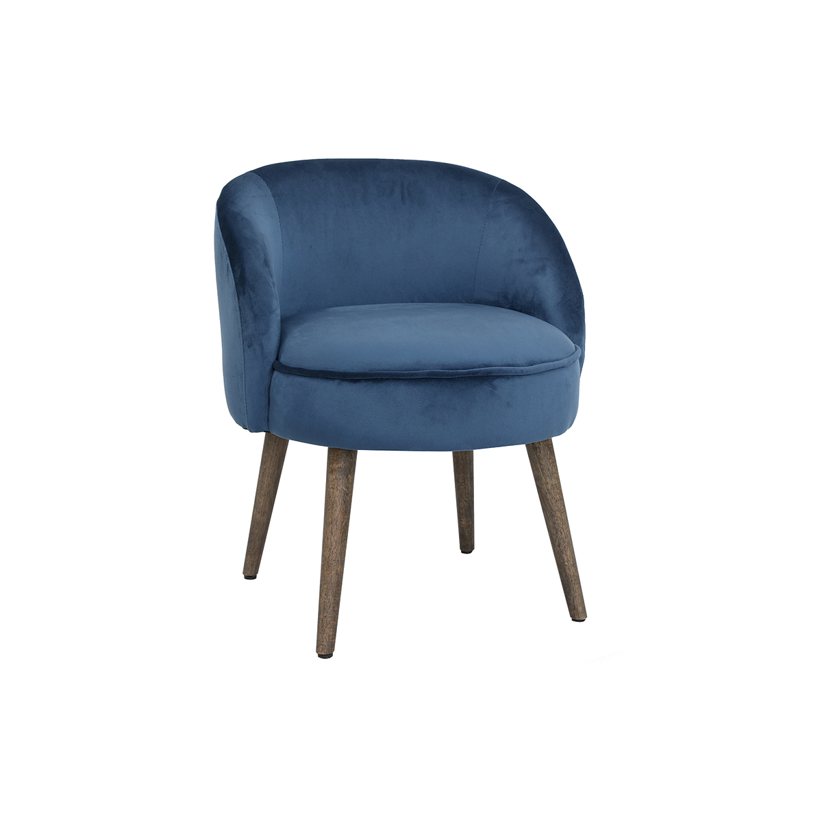 Poltrona design in velluto blu e piedi legno UTA