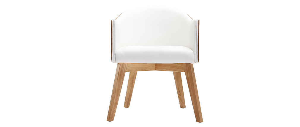 Poltrona design legno chiaro e PU bianco NORDECO