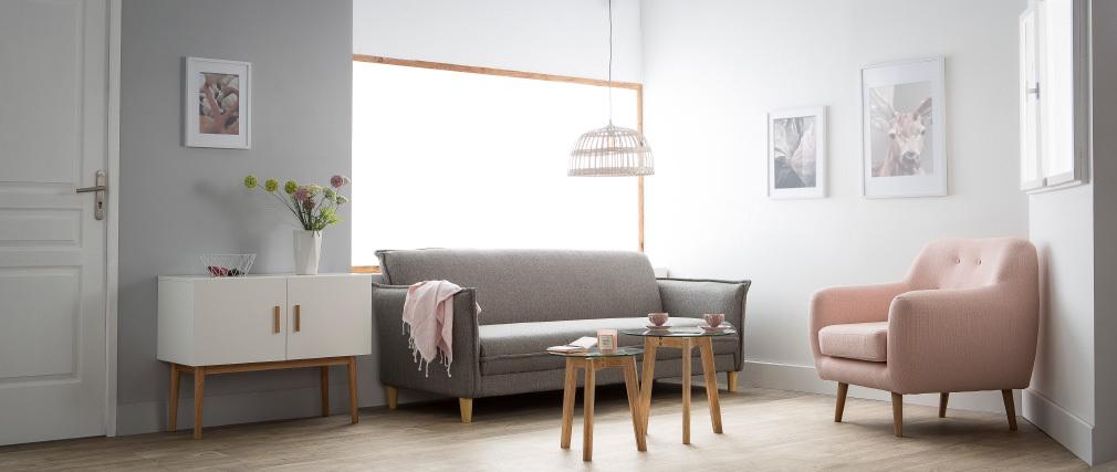 Poltrona design legno chiaro e tessuto grigio perla OLAF