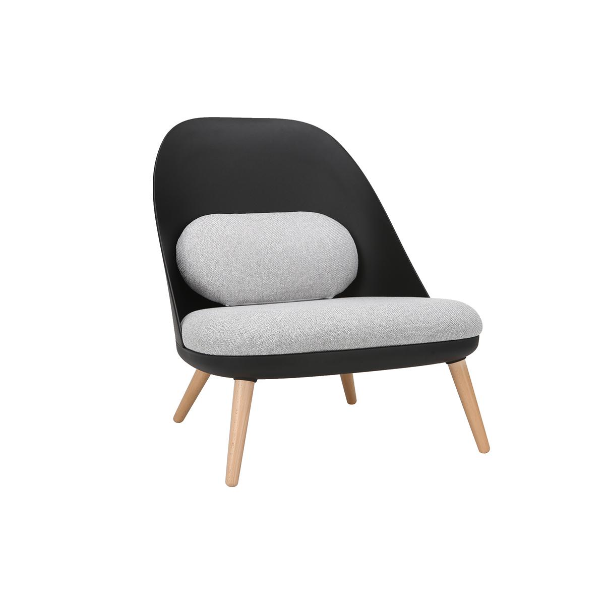 Poltrona design Nero con cuscini in tessuto e piedi in legno chiaro LEAF