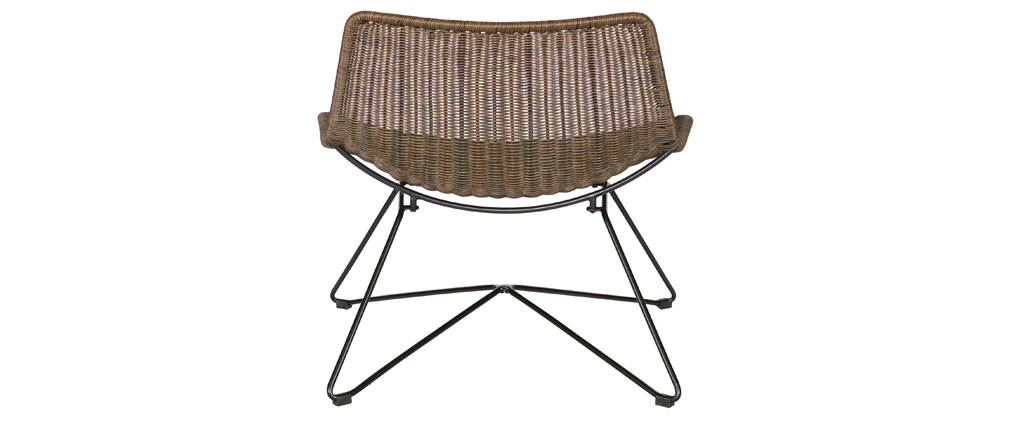 Poltrona design rattan sintetica color naturale interno / esterno SUNSET