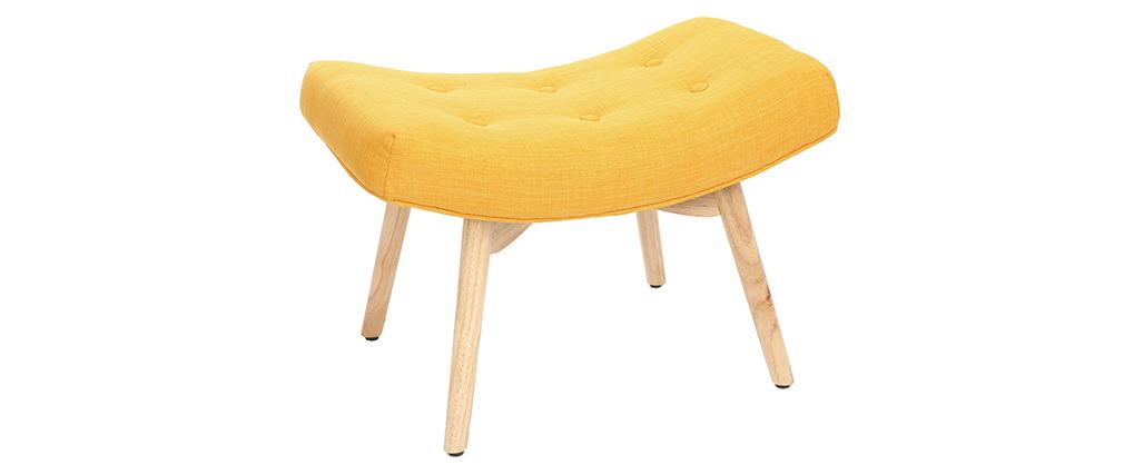 Poltrona design scandinava con poggiapiedi giallo e legno chiaro BRISTOL