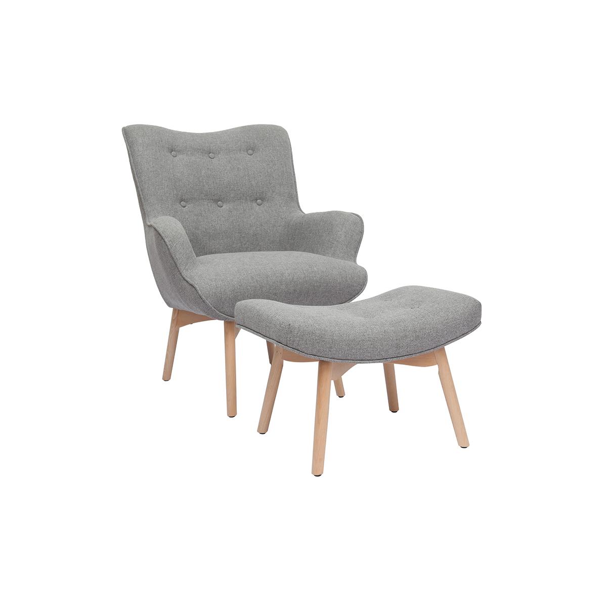 Poltrona design scandinava con poggiapiedi grigio chiaro e legno chiaro BRISTOL