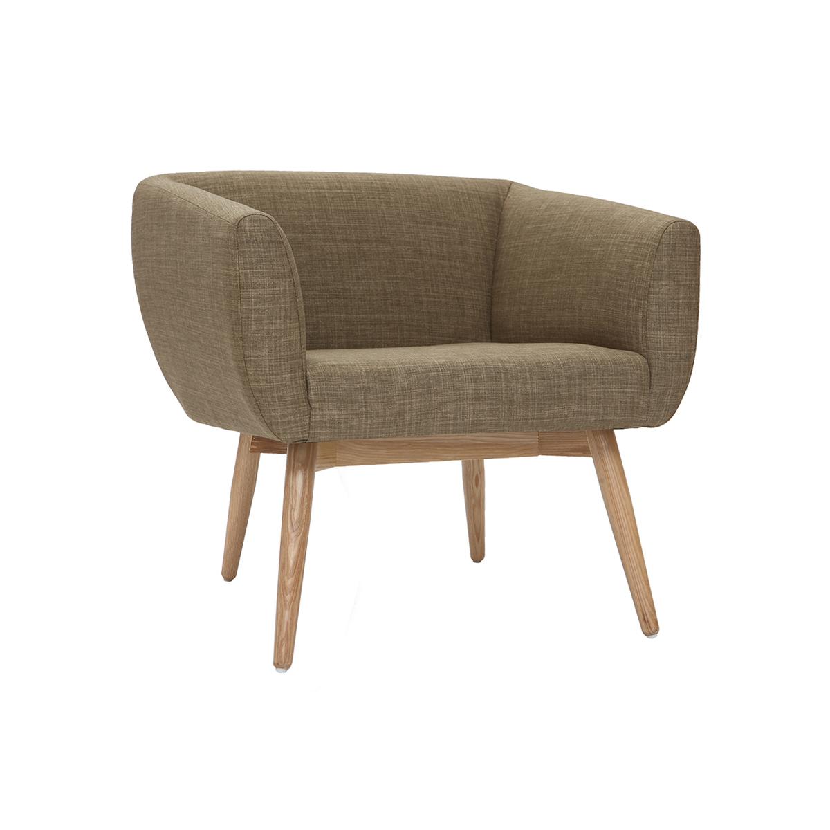 Poltrona design seduta in tessuto color verde oliva - ARTIK