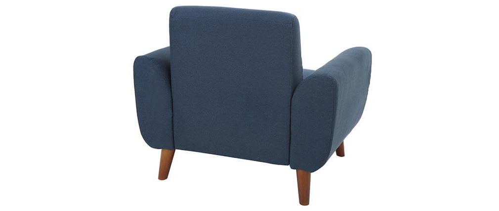 Poltrona design tessuto blu e frassino EKTOR