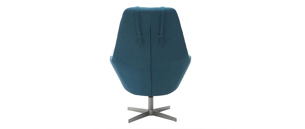 Poltrona desing girevole in tessuto blu anatra e piede metallico AMEDEO
