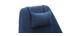 Poltrona desing girevole in tessuto blu e piede metallico AMEDEO