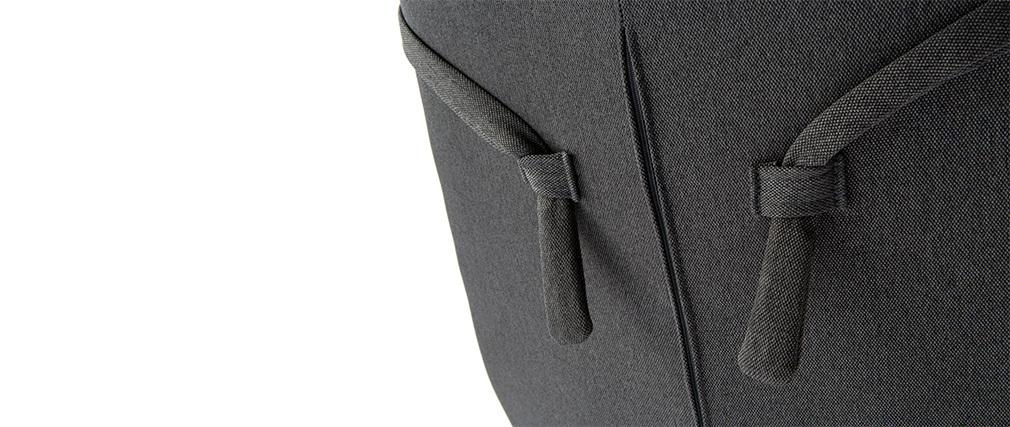 Poltrona desing girevole in tessuto grigio scuro e piede metallico AMEDEO