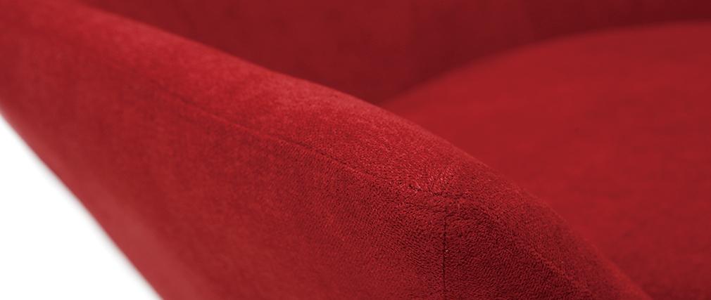 Poltrona desing girevole in tessuto rosso e piede metallico AMEDEO