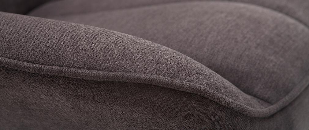 Poltrona di design BILLIE in tessuto effetto velluto grigio scuro