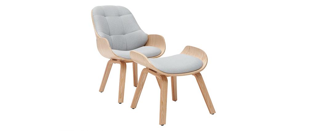 Poltrona di design con poggiapiedi in tessuto grigio chiaro e legno VIVI