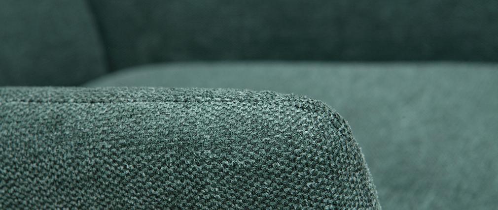 Poltrona di design in metallo e tessuto effetto velluto testurizzato verde COME