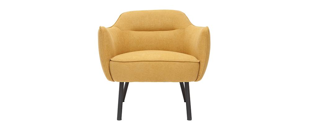 Poltrona di design in tessuto effetto velluto giallo senape LAURENS