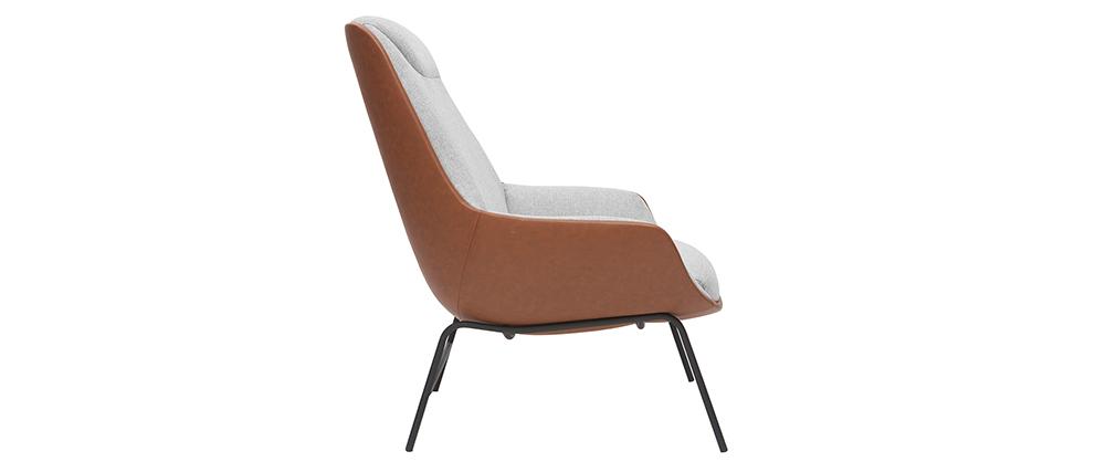 Poltrona di design marrone con tessuto effetto velluto grigio MARCEAU