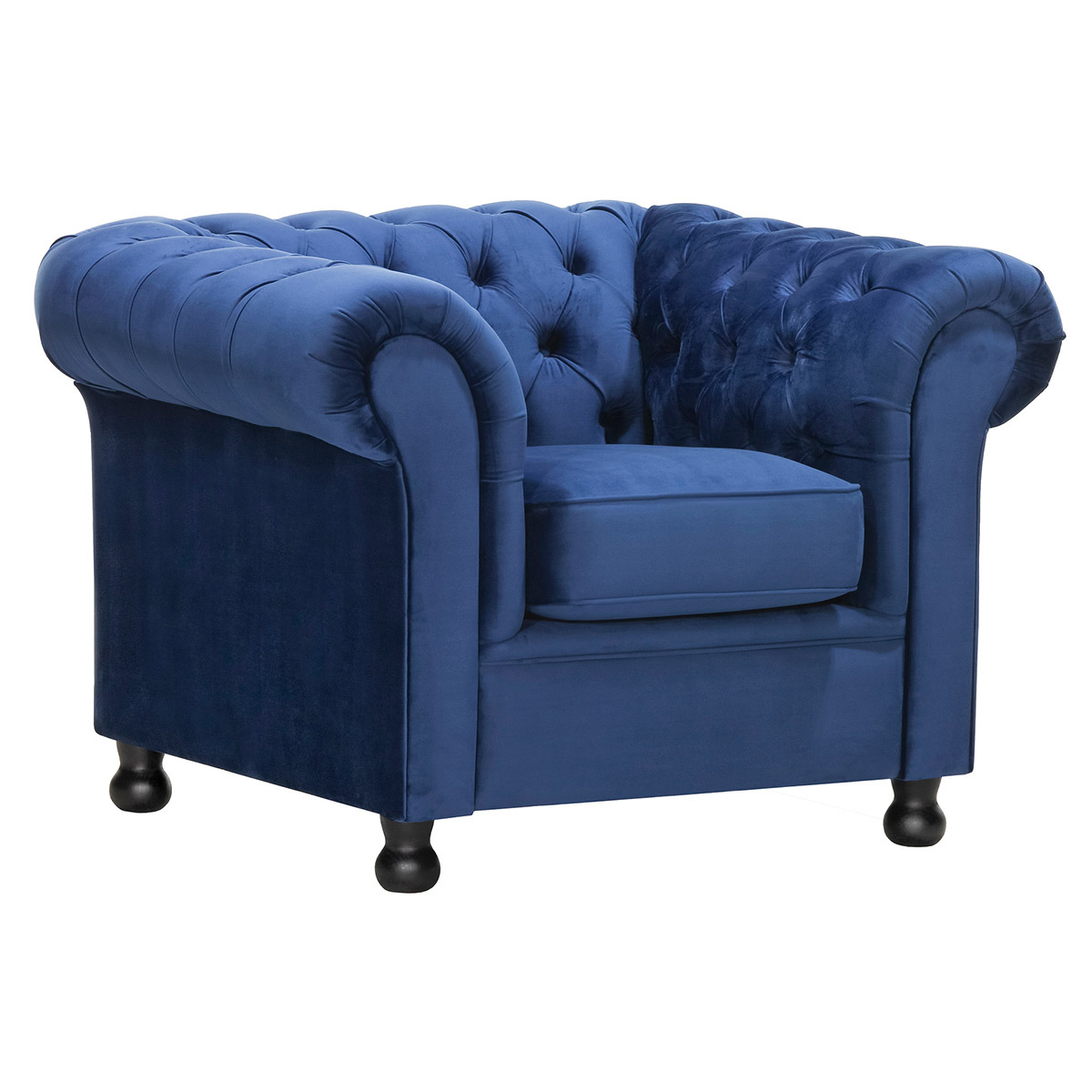 Poltrona in velluto Blu scuro CHESTERFIELD