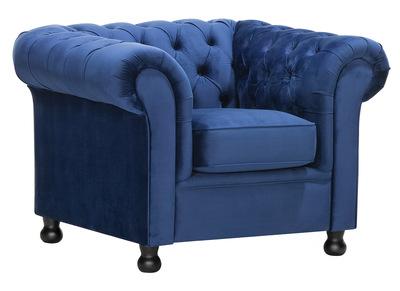 Poltrona in velluto, colore: Blu scuro, modello: CHESTERFIELD