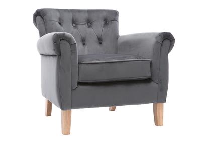 Poltrona in velluto, colore: Grigio scuro, legno chiaro, modello: MAJESTIC