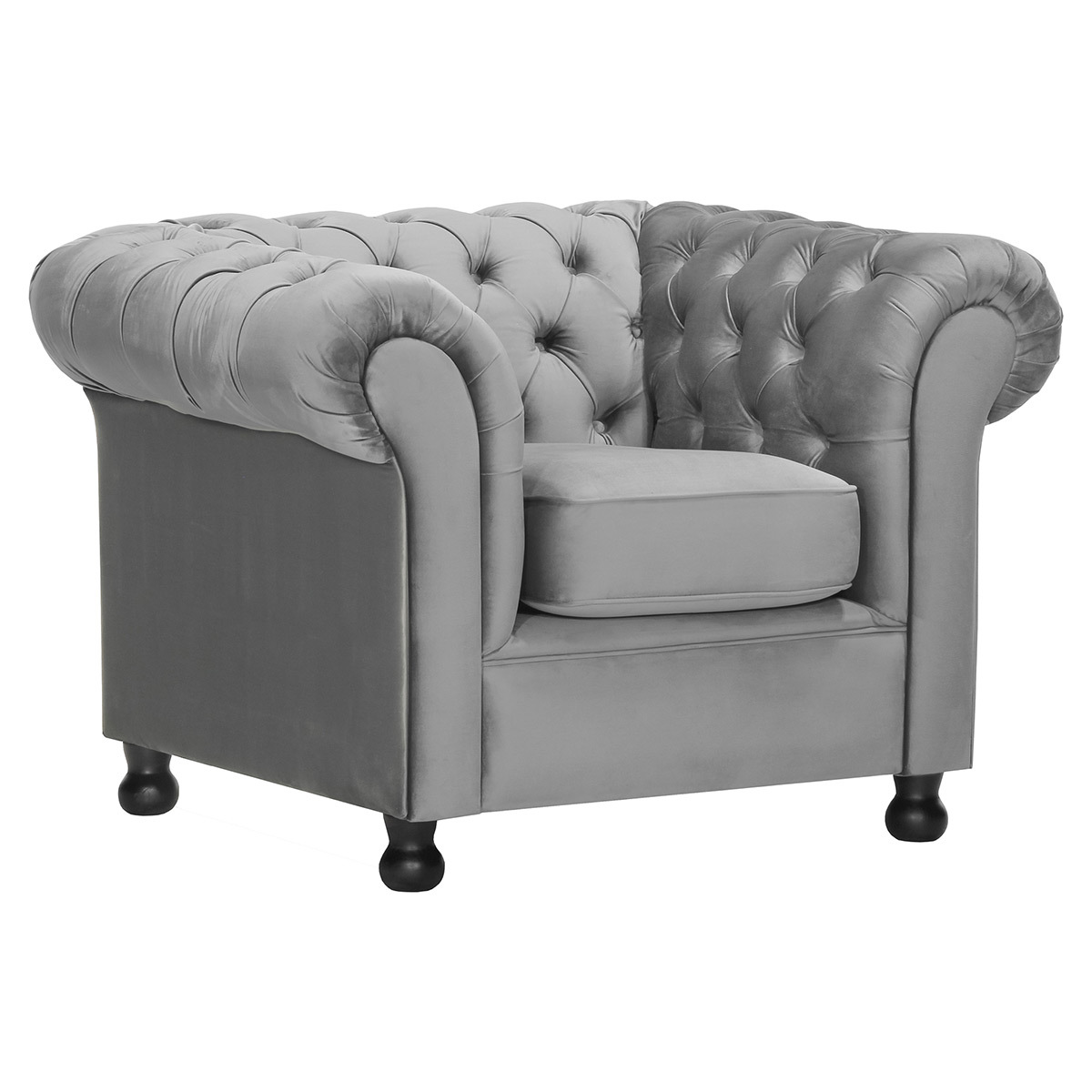 Poltrona in velluto Grigio scuro CHESTERFIELD