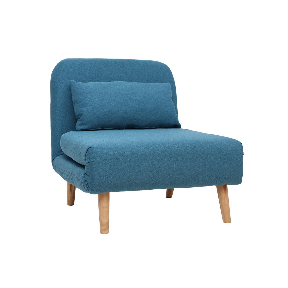 Poltrona letto convertibile in tessuto blu anatra AMIKO