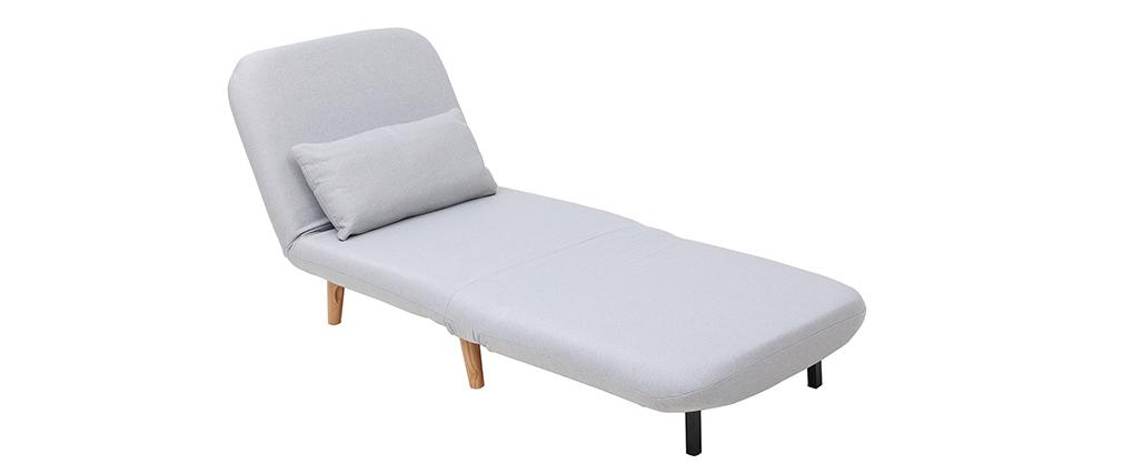 Poltrona letto convertibile in tessuto grigio chiaro AMIKO