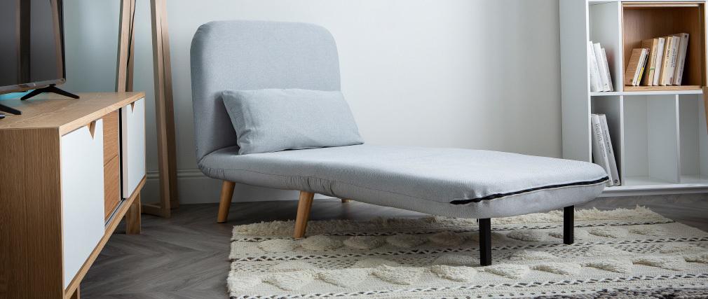 Poltrona letto convertibile in tessuto rosso AMIKO
