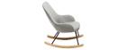 Poltrona relax - Baby sedia a dondolo tessuto grigio gambe in metallo e frassino JHENE