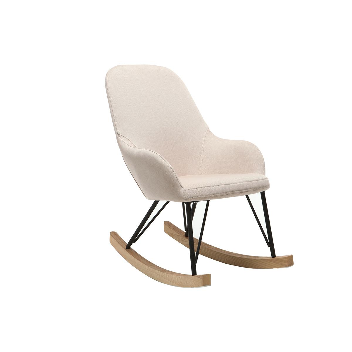 Poltrona relax - Baby sedia a dondolo tessuto naturale gambe in metallo e frassino JHENE