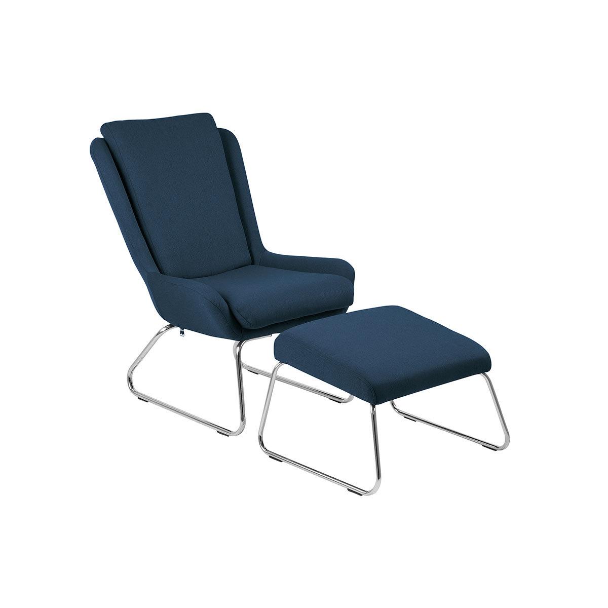 Poltrona relax design con poggiapiedi blu HARPER