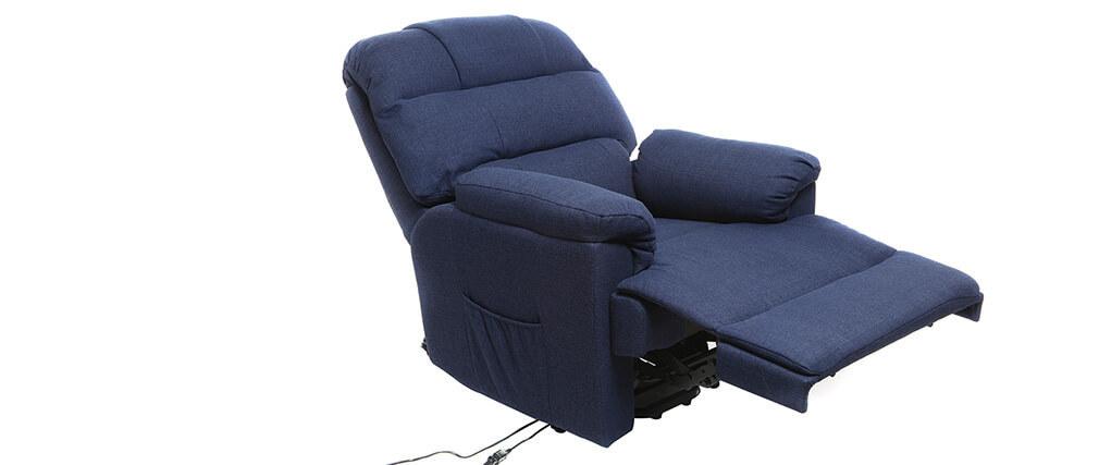 Poltrona relax elettrica alzapersona in tessuto blu scuro PHOEBE