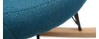 Poltrona relax - Sedia a dondolo tessuto blu petrolio gambe in metallo e frassino - JHENE