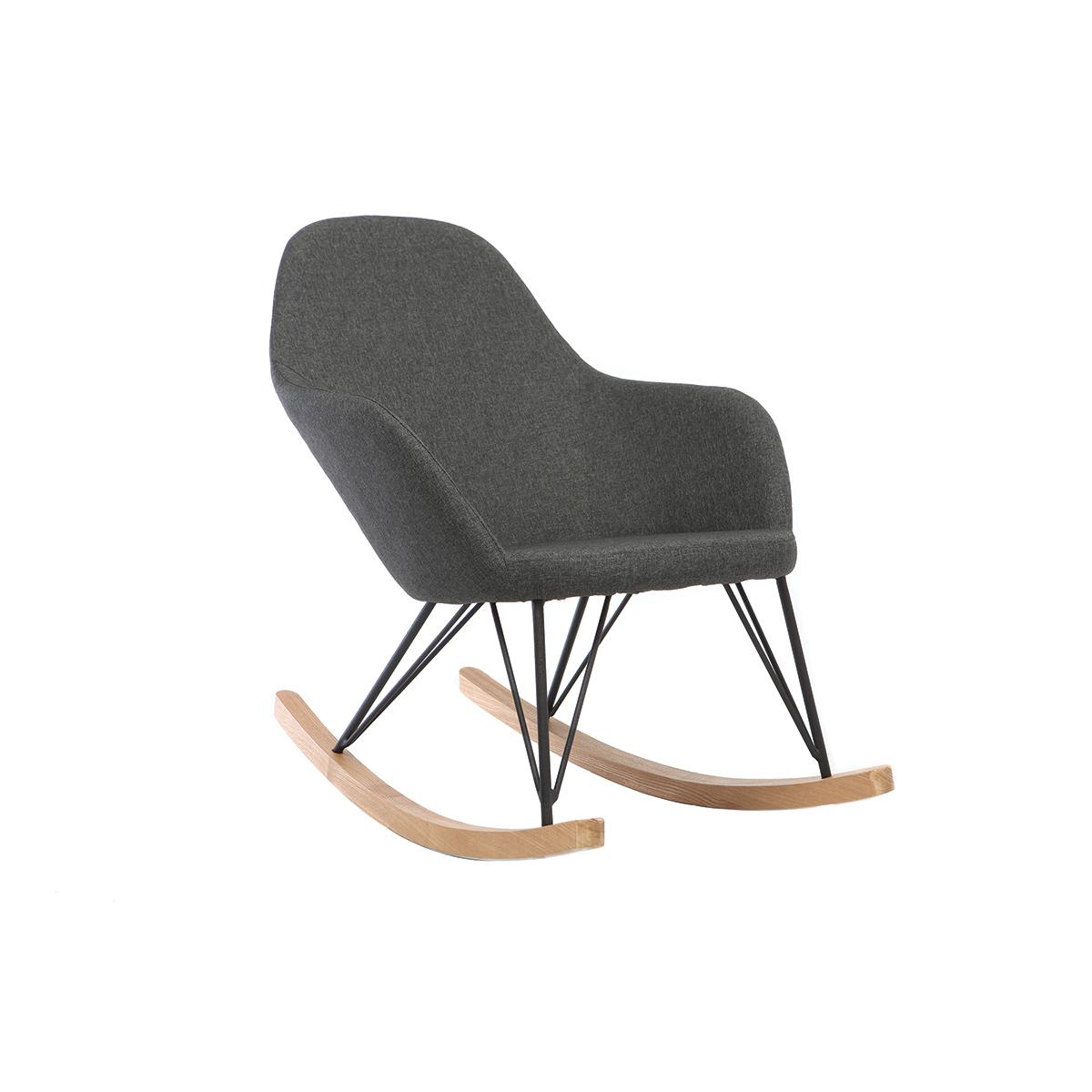 Poltrona relax - Sedia a dondolo tessuto grigio antracite gambe in metallo e frassino JHENE