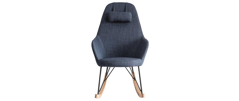 Poltrona relax - Sedia a dondolo tessuto grigio-blu gambe in metallo e frassino JHENE