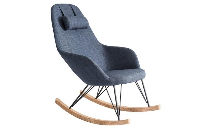 Sedie Blu Petrolio : Poltrona relax sedia a dondolo tessuto grigio blu gambe in