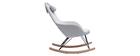 Poltrona relax - Sedia a dondolo tessuto grigio gambe in metallo e frassino JHENE