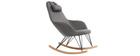 Poltrona relax - Sedia a dondolo tessuto grigio gambe in metallo e frassino - JHENE