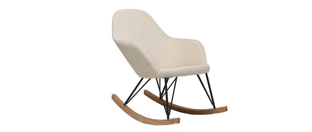 Poltrona relax - Sedia a dondolo tessuto naturale gambe in metallo e frassino JHENE