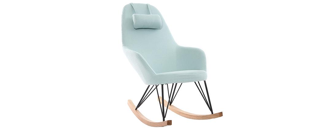 Poltrona relax - Sedia a dondolo tessuto verde acqua gambe in metallo e frassino - JHENE