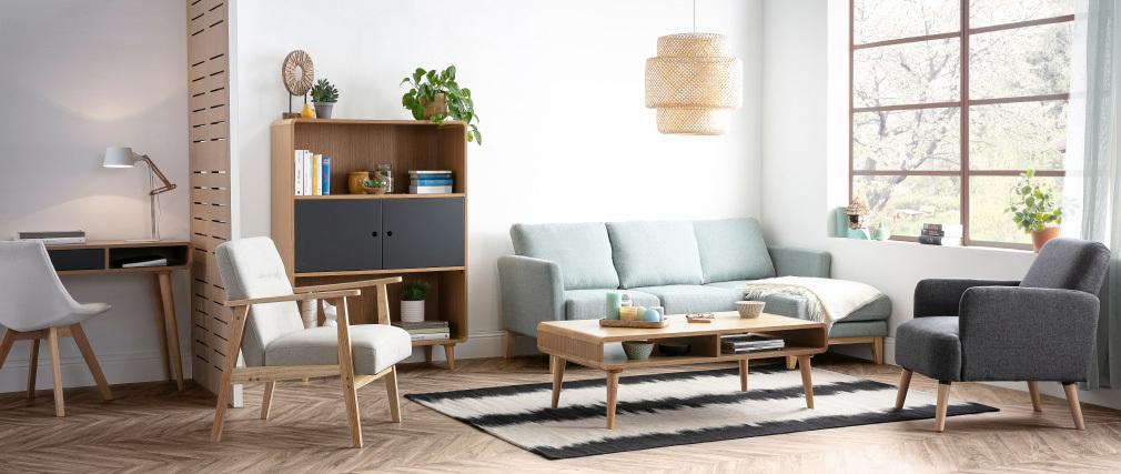Poltrona scandinava beige e legno chiaro ABYSS