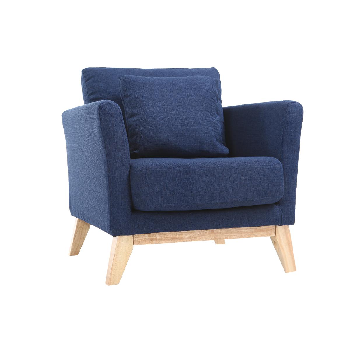 Poltrona scandinava blu scuro piedi in legno chiaro OSLO