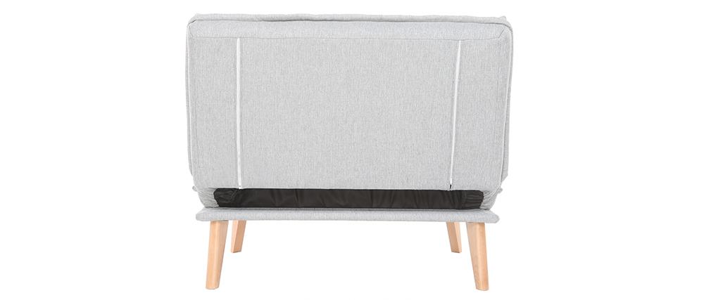 Poltrona scandinava convertibile in tessuto grigio chiaro BENNIE