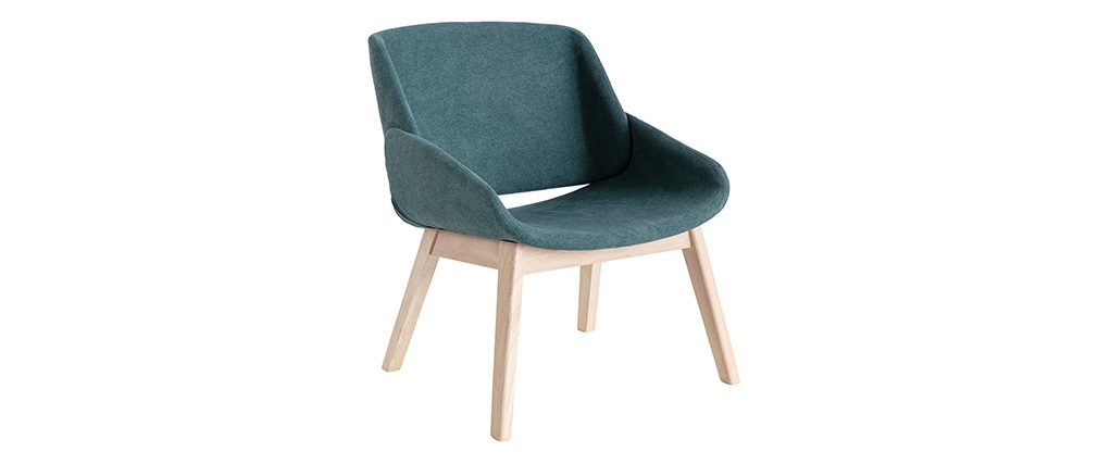 Poltrona scandinava effetto velluto blu-verde WILLY