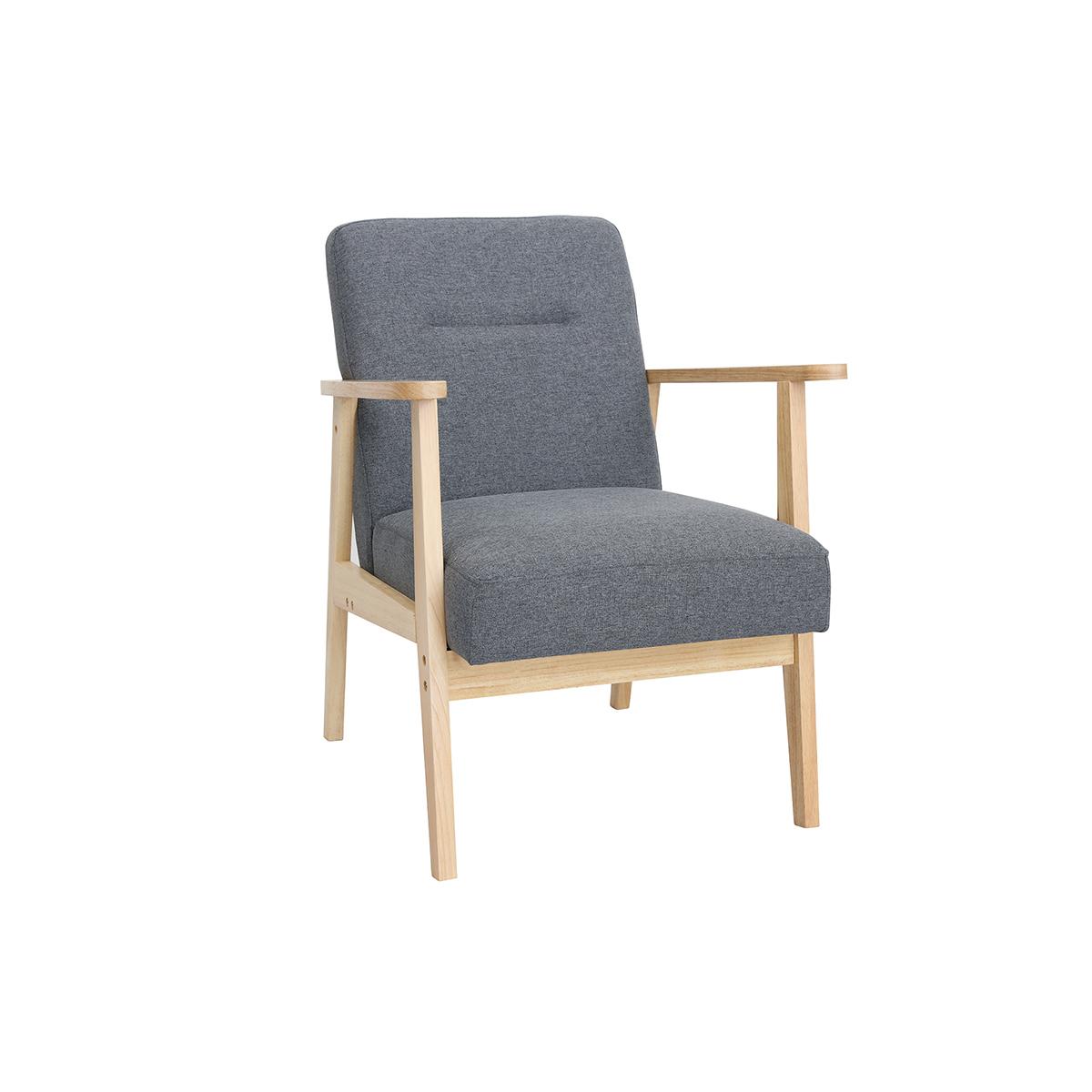 Poltrona scandinava grigia e legno chiaro ABYSS