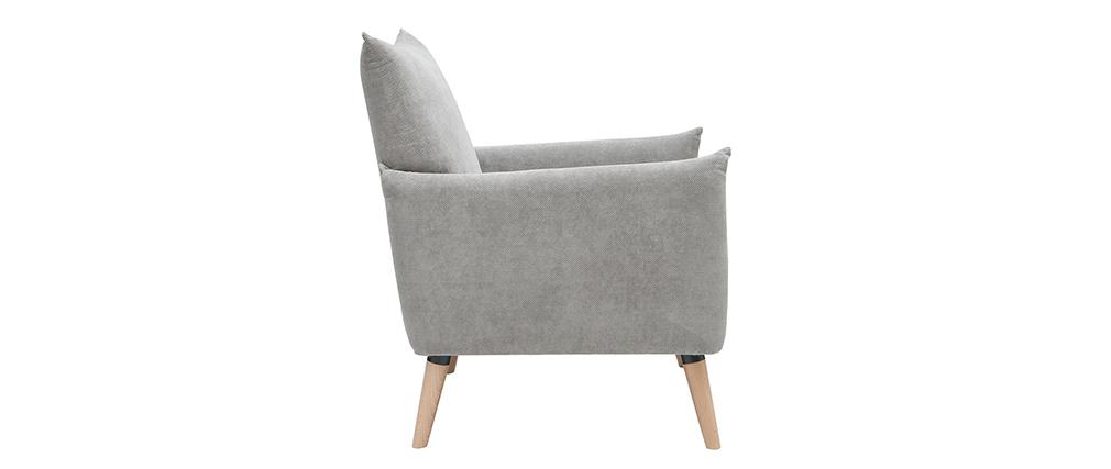 Poltrona scandinava grigio chiaro effetto velluto testurizzato AGAPE
