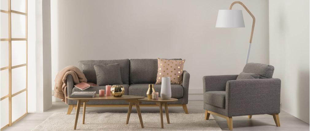 Poltrona scandinava grigio chiaro piedi in legno chiaro OSLO