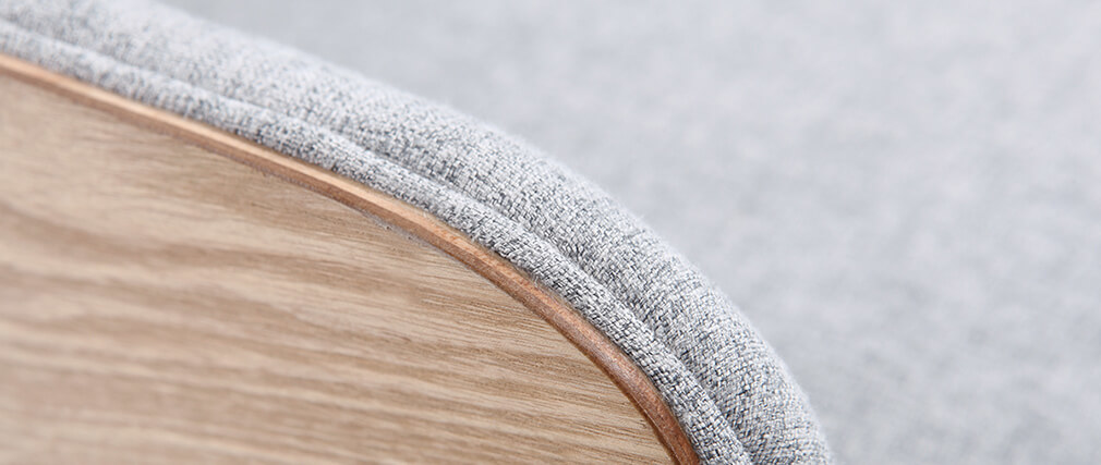 Poltrona scandinava grigio perla piedi legno VALMY