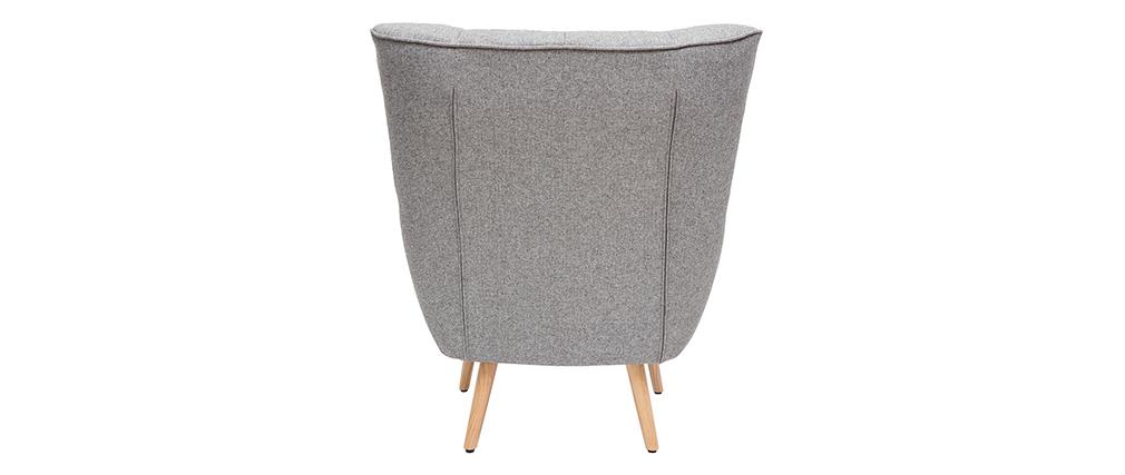 Poltrona scandinava in tessuto grigio chiaro e legno AVERY